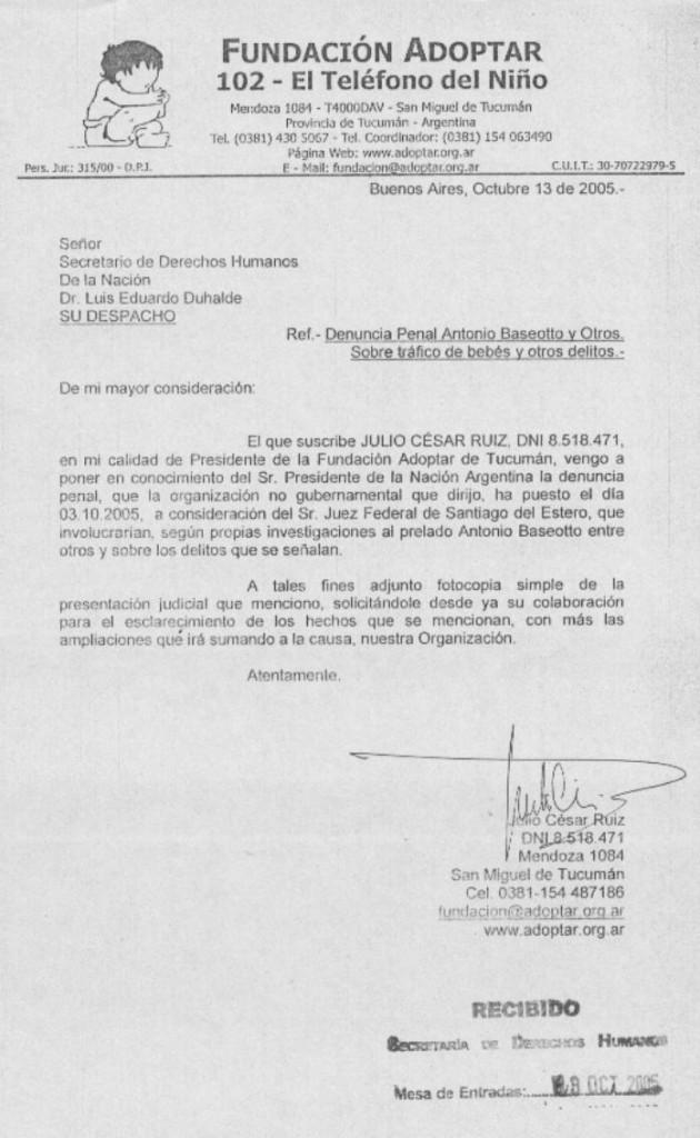 Notificación al Secretario de Derechos Humanos de la Nación Eduardo Luis Duhalde